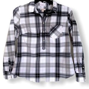 Merona Half Button Down Grayscale Pink Plaid Shirt